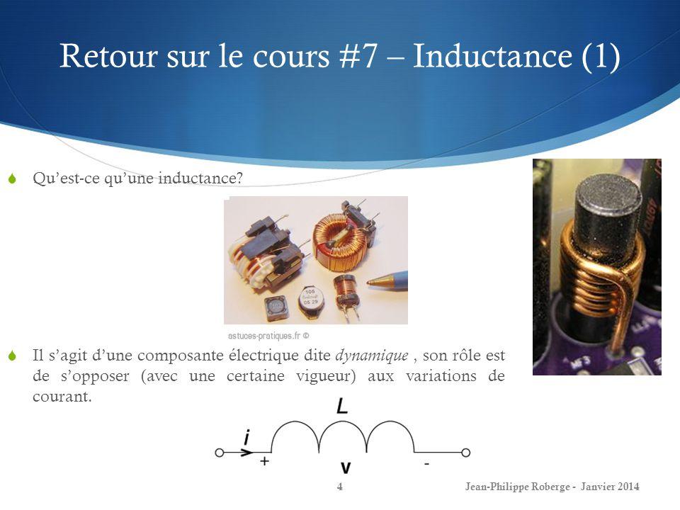 Retour sur le cours #7 – Inductance (1) Quest-ce quune inductance? Jean-Philippe Roberge - Janvier 20144 Il sagit dune composante électrique dite dyna