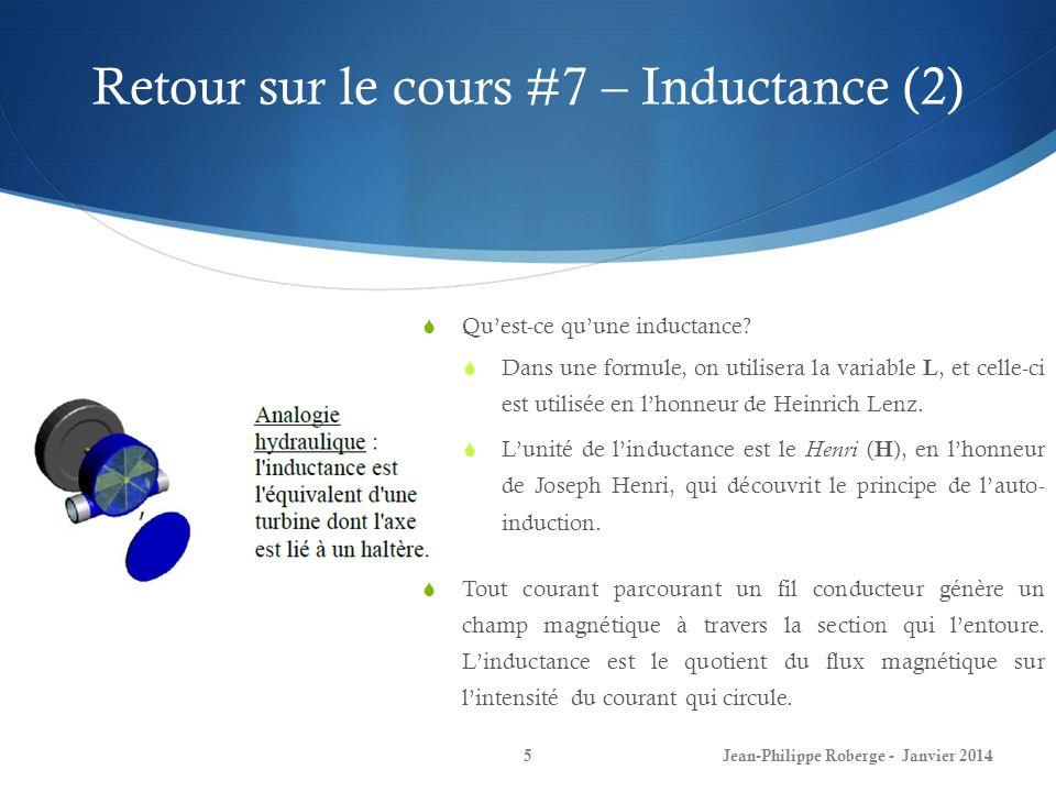 Retour sur le cours #7 – Inductance (2) Jean-Philippe Roberge - Janvier 20145 Quest-ce quune inductance? Dans une formule, on utilisera la variable L,