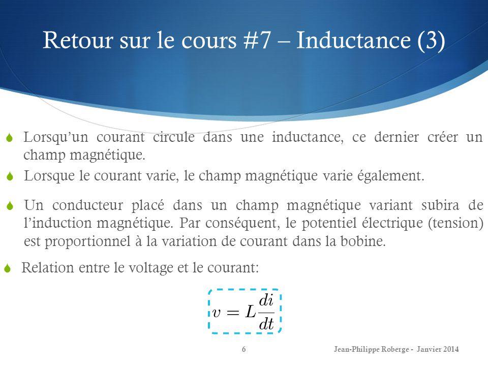 Réponse naturelle dun circuit RL (2) En résumé, la procédure pour calculer la réponse naturelle dun circuit RL: 1) Trouver la valeur initiale du courant dans linductance: 2) Trouver la constante de temps: 3) Enfin, exprimer i(t): Jean-Philippe Roberge - Janvier 201427 Cette fonction vaut i(0) à t=0 et 0 lorsque t = infini