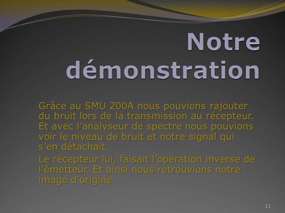 Grâce au SMU 200A nous pouvions rajouter du bruit lors de la transmission au récepteur.