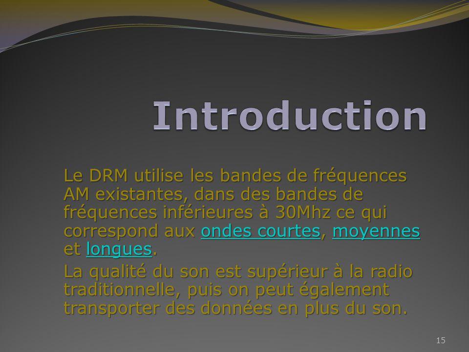 Le DRM utilise les bandes de fréquences AM existantes, dans des bandes de fréquences inférieures à 30Mhz ce qui correspond aux ondes courtes, moyennes et longues.