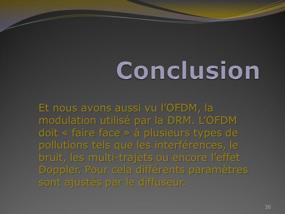 Et nous avons aussi vu lOFDM, la modulation utilisé par la DRM.