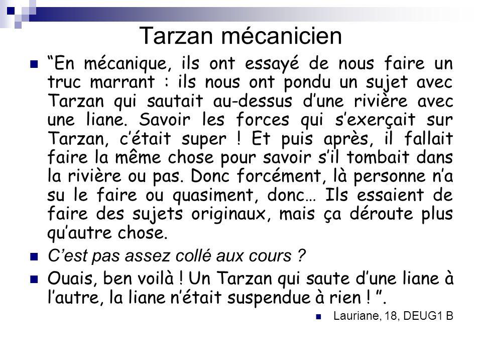 Tarzan mécanicien En mécanique, ils ont essayé de nous faire un truc marrant : ils nous ont pondu un sujet avec Tarzan qui sautait au-dessus dune rivi