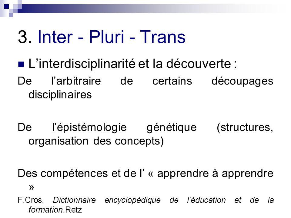 3. Inter - Pluri - Trans Linterdisciplinarité et la découverte : De larbitraire de certains découpages disciplinaires De lépistémologie génétique (str