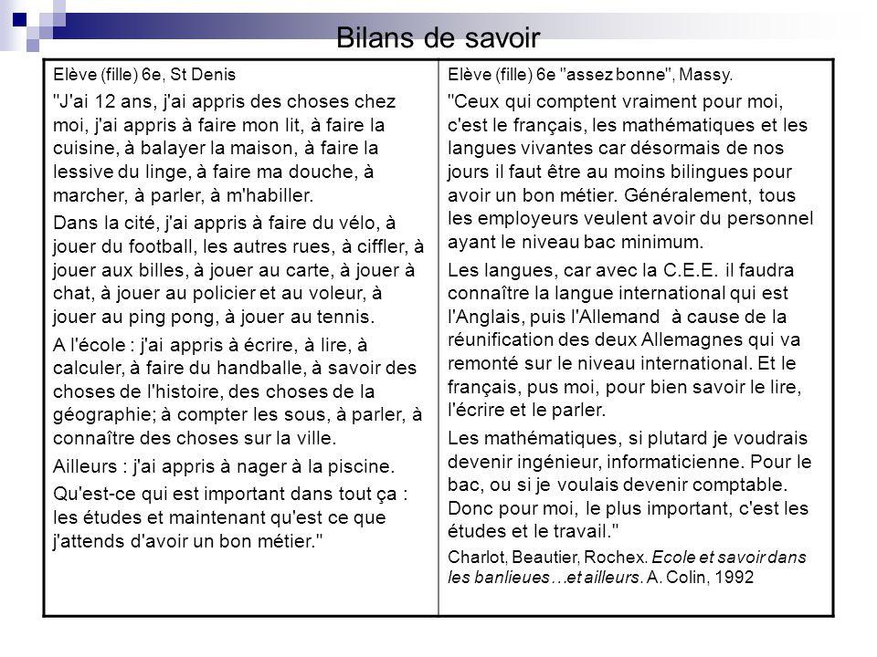Bilans de savoir Elève (fille) 6e, St Denis