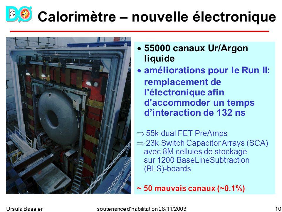 Ursula Bassler10soutenance d'habilitation 28/11/2003 Calorimètre – nouvelle électronique 55000 canaux Ur/Argon liquide améliorations pour le Run II: r