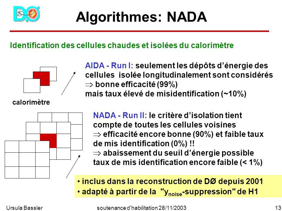 Ursula Bassler13soutenance d habilitation 28/11/2003 Algorithmes: NADA Identification des cellules chaudes et isolées du calorimètre calorimètre AIDA - Run I: seulement les dépôts dénergie des cellules isolée longitudinalement sont considérés bonne efficacité (99%) mais taux élevé de misidentification (~10%) NADA - Run II: le critère disolation tient compte de toutes les cellules voisines efficacité encore bonne (90%) et faible taux de mis identification (0%) !.