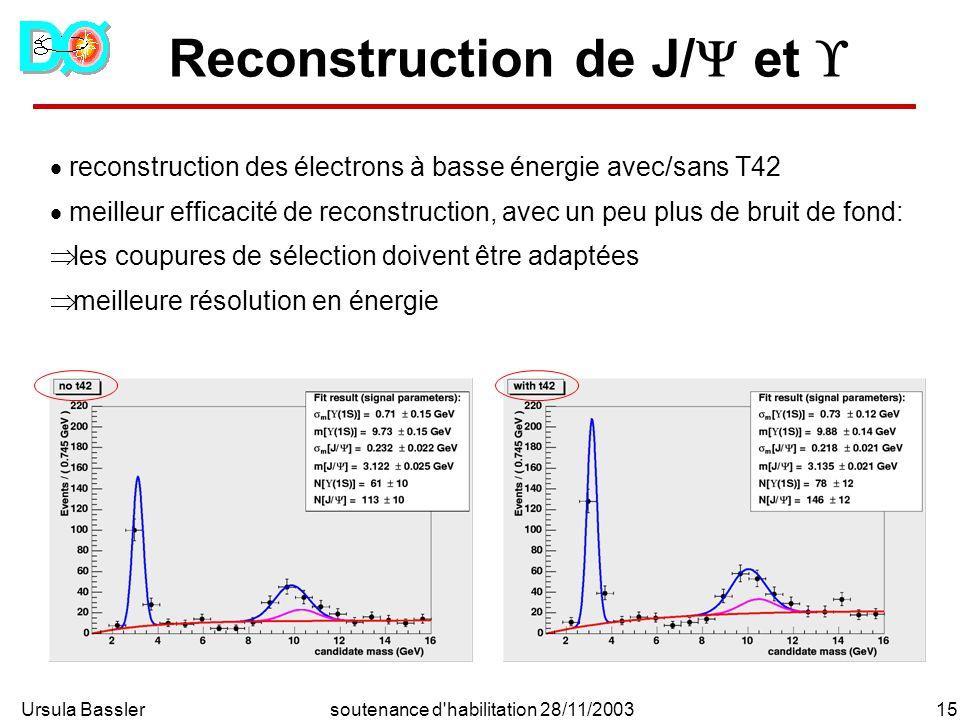 Ursula Bassler15soutenance d habilitation 28/11/2003 Reconstruction de J/ et reconstruction des électrons à basse énergie avec/sans T42 meilleur efficacité de reconstruction, avec un peu plus de bruit de fond: les coupures de sélection doivent être adaptées meilleure résolution en énergie