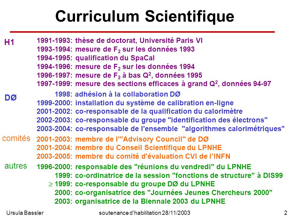 Ursula Bassler2soutenance d'habilitation 28/11/2003 Curriculum Scientifique 1991-1993: thèse de doctorat, Université Paris VI 1993-1994: mesure de F 2