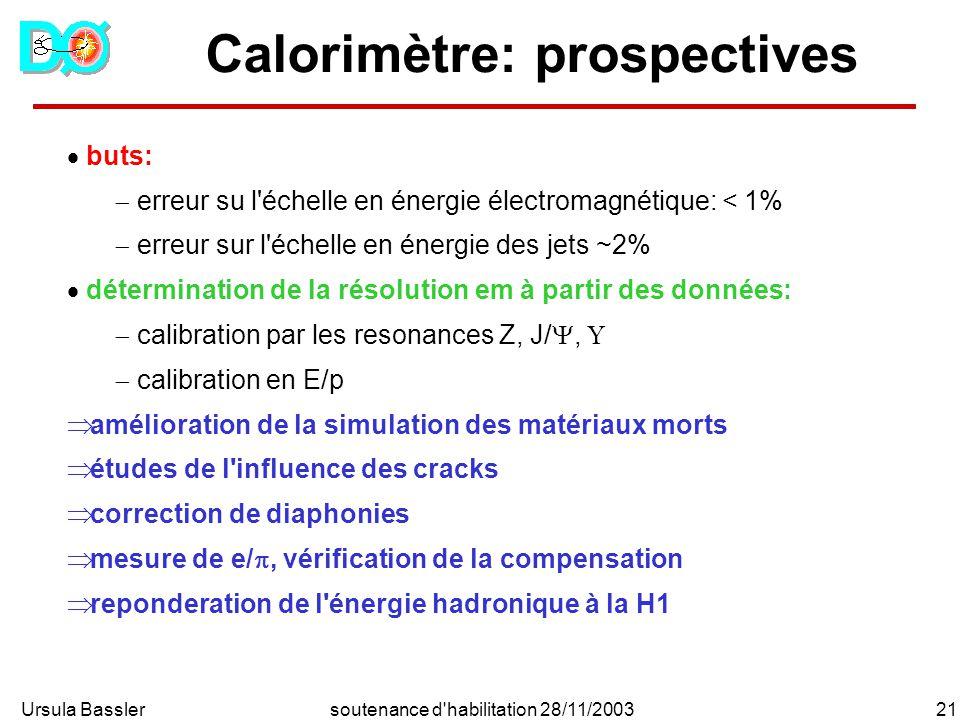 Ursula Bassler21soutenance d habilitation 28/11/2003 Calorimètre: prospectives buts: erreur su l échelle en énergie électromagnétique: < 1% erreur sur l échelle en énergie des jets ~2% détermination de la résolution em à partir des données: calibration par les resonances Z, J/, calibration en E/p amélioration de la simulation des matériaux morts études de l influence des cracks correction de diaphonies mesure de e/, vérification de la compensation reponderation de l énergie hadronique à la H1