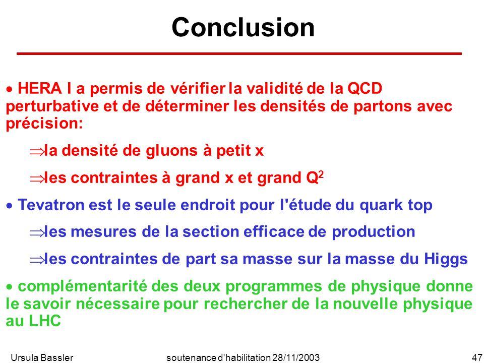 Ursula Bassler47soutenance d habilitation 28/11/2003 Conclusion HERA I a permis de vérifier la validité de la QCD perturbative et de déterminer les densités de partons avec précision: la densité de gluons à petit x les contraintes à grand x et grand Q 2 Tevatron est le seule endroit pour l étude du quark top les mesures de la section efficace de production les contraintes de part sa masse sur la masse du Higgs complémentarité des deux programmes de physique donne le savoir nécessaire pour rechercher de la nouvelle physique au LHC