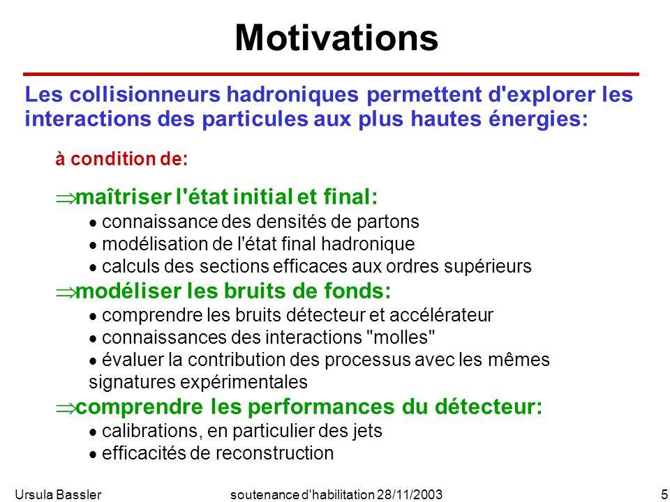 Ursula Bassler6soutenance d habilitation 28/11/2003 Tevatron HERA et LHC les expériences de HERA permettent: d étendre le domaine cinématique mesuré des densités de partons (pdf) de confirmer la validité de l évolution des pdf par la QCD perturbative (équations de DGLAP) de déterminer le comportement de la densité de gluons à petit x de contraindre la région à grand x dans le domaine perturbatif d améliorer la modélisation de l état final hadronique