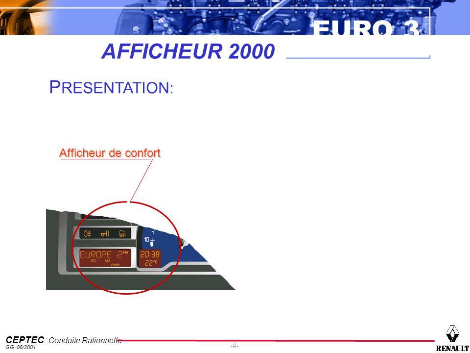 EURO 3 CEPTEC Conduite Rationnelle GG. 06/2001 11 AFFICHEUR 2000 Afficheur de confort P RESENTATION: