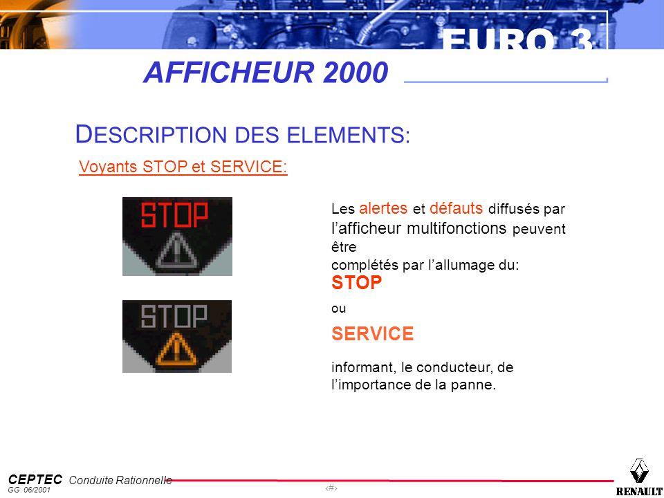EURO 3 CEPTEC Conduite Rationnelle GG. 06/2001 15 AFFICHEUR 2000 D ESCRIPTION DES ELEMENTS: Voyants STOP et SERVICE: Les alertes et défauts diffusés p