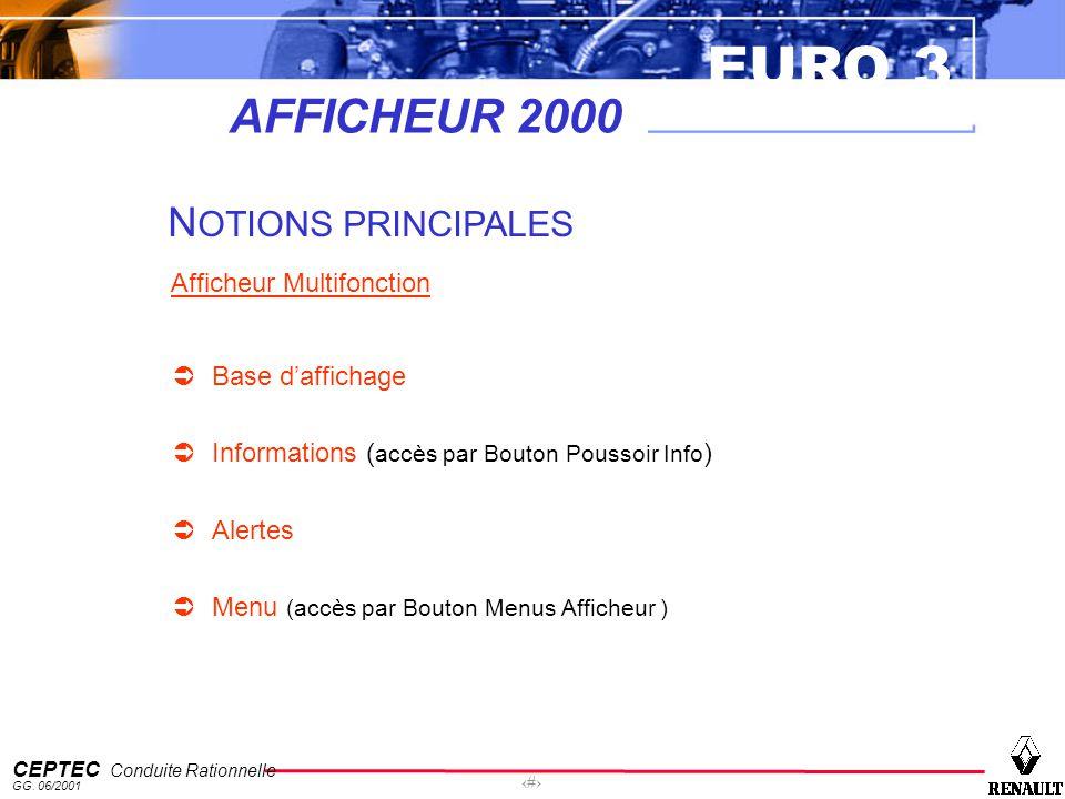EURO 3 CEPTEC Conduite Rationnelle GG. 06/2001 24 AFFICHEUR 2000 N OTIONS PRINCIPALES Afficheur Multifonction Base daffichage Informations ( accès par