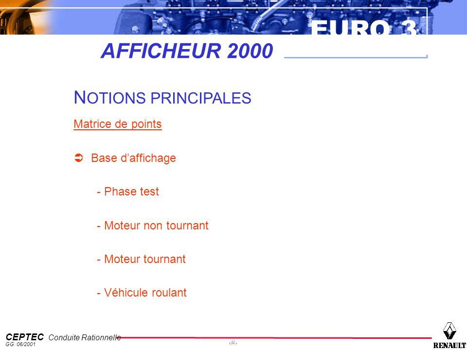 EURO 3 CEPTEC Conduite Rationnelle GG. 06/2001 25 AFFICHEUR 2000 N OTIONS PRINCIPALES Matrice de points Base daffichage - Phase test - Moteur non tour