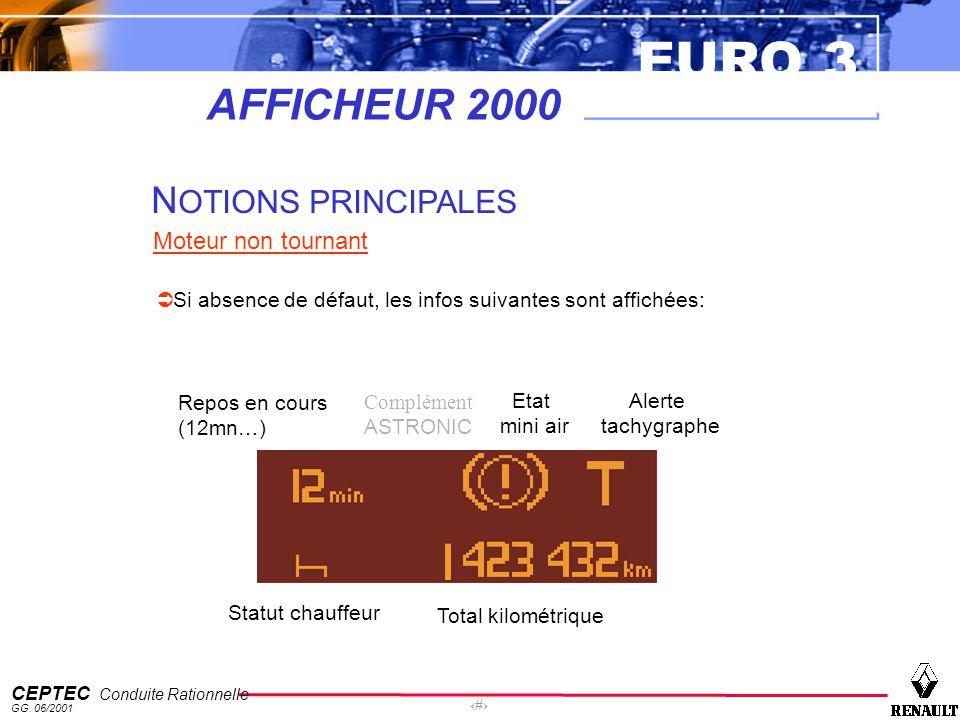 EURO 3 CEPTEC Conduite Rationnelle GG. 06/2001 27 AFFICHEUR 2000 N OTIONS PRINCIPALES Moteur non tournant Si absence de défaut, les infos suivantes so