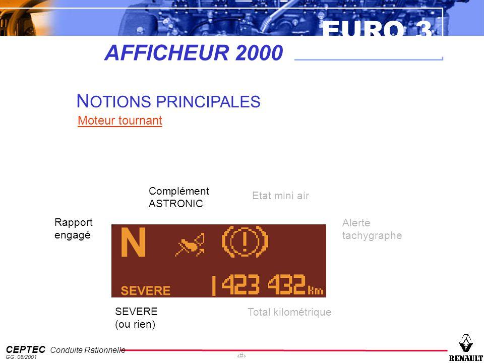 EURO 3 CEPTEC Conduite Rationnelle GG. 06/2001 28 AFFICHEUR 2000 N OTIONS PRINCIPALES Moteur tournant Rapport engagé SEVERE (ou rien) Complément ASTRO