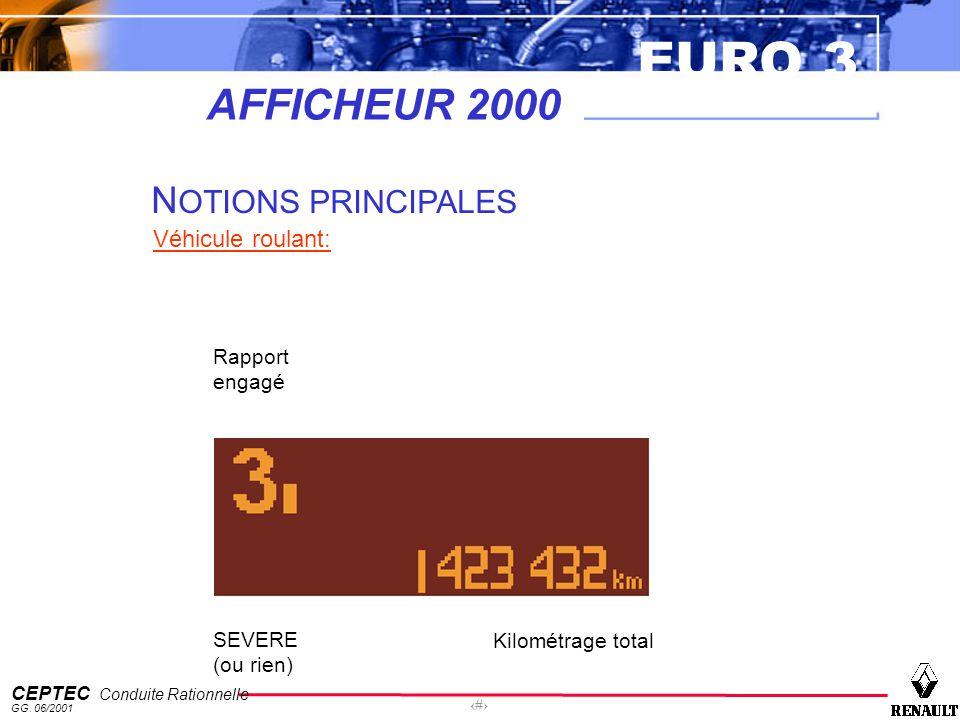 EURO 3 CEPTEC Conduite Rationnelle GG. 06/2001 29 AFFICHEUR 2000 N OTIONS PRINCIPALES Véhicule roulant: SEVERE (ou rien) Rapport engagé Kilométrage to