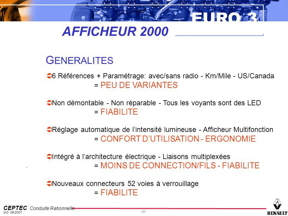 EURO 3 CEPTEC Conduite Rationnelle GG. 06/2001 3 AFFICHEUR 2000 G ENERALITES 6 Références + Paramétrage: avec/sans radio - Km/Mile - US/Canada = PEU D