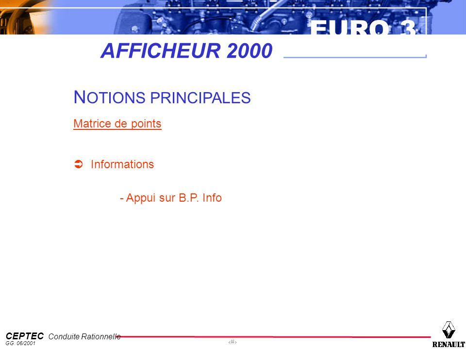 EURO 3 CEPTEC Conduite Rationnelle GG. 06/2001 30 AFFICHEUR 2000 N OTIONS PRINCIPALES Matrice de points Informations - Appui sur B.P. Info
