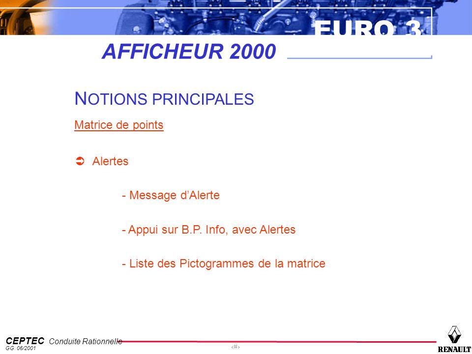 EURO 3 CEPTEC Conduite Rationnelle GG. 06/2001 32 AFFICHEUR 2000 N OTIONS PRINCIPALES Matrice de points Alertes - Message dAlerte - Appui sur B.P. Inf
