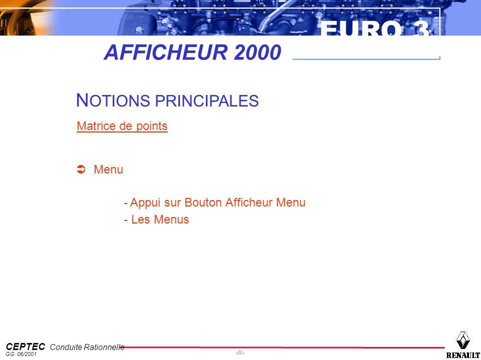 EURO 3 CEPTEC Conduite Rationnelle GG. 06/2001 41 AFFICHEUR 2000 N OTIONS PRINCIPALES Matrice de points Menu - Appui sur Bouton Afficheur Menu - Les M