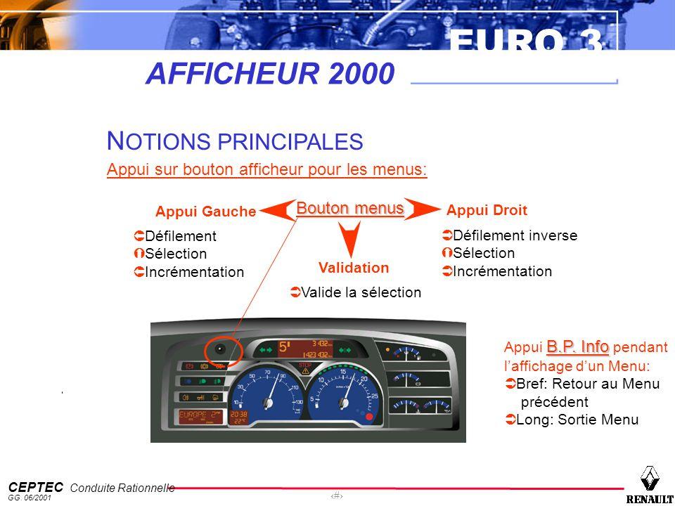 EURO 3 CEPTEC Conduite Rationnelle GG. 06/2001 42 AFFICHEUR 2000 N OTIONS PRINCIPALES Appui sur bouton afficheur pour les menus: Bouton menus Appui Ga