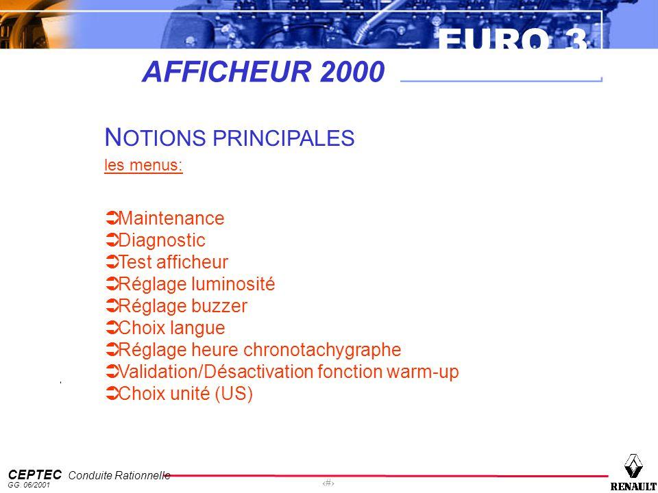 EURO 3 CEPTEC Conduite Rationnelle GG. 06/2001 43 AFFICHEUR 2000 N OTIONS PRINCIPALES les menus: Maintenance Diagnostic Test afficheur Réglage luminos