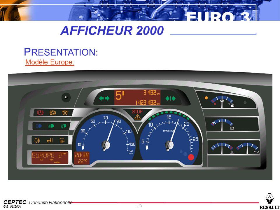 EURO 3 CEPTEC Conduite Rationnelle GG. 06/2001 5 AFFICHEUR 2000 P RESENTATION: Modèle Europe: