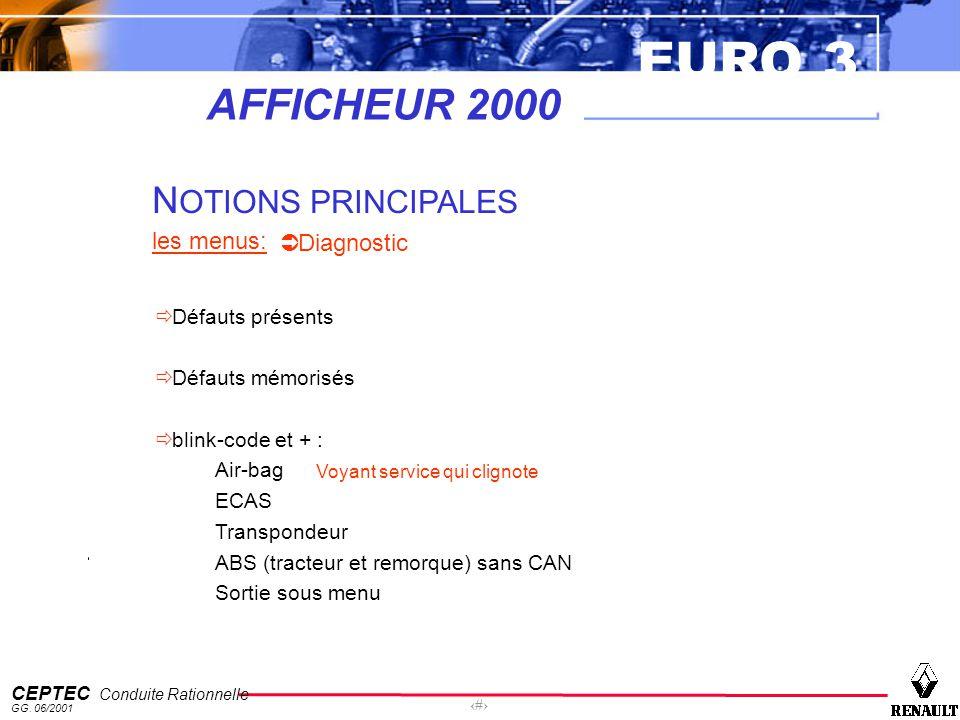 EURO 3 CEPTEC Conduite Rationnelle GG. 06/2001 52 AFFICHEUR 2000 N OTIONS PRINCIPALES les menus: Diagnostic Défauts présents Défauts mémorisés blink-c