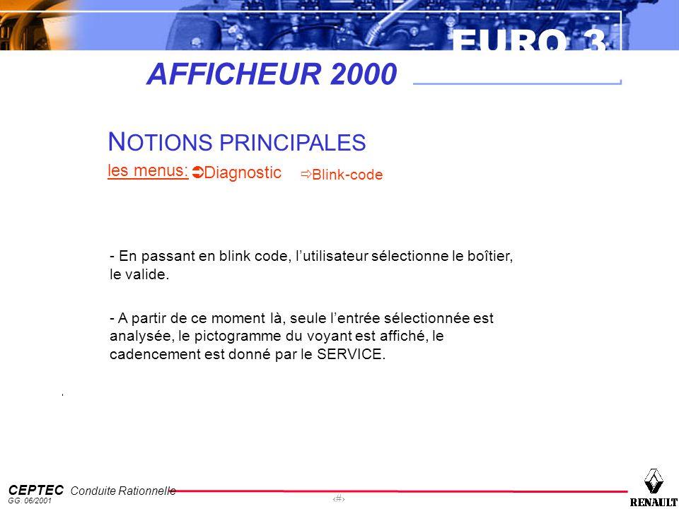 EURO 3 CEPTEC Conduite Rationnelle GG. 06/2001 54 AFFICHEUR 2000 N OTIONS PRINCIPALES les menus: Diagnostic Blink-code - En passant en blink code, lut