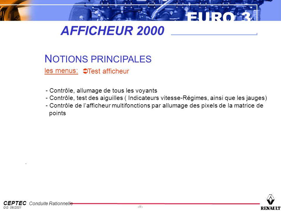 EURO 3 CEPTEC Conduite Rationnelle GG. 06/2001 55 AFFICHEUR 2000 N OTIONS PRINCIPALES les menus: Test afficheur - Contrôle, allumage de tous les voyan
