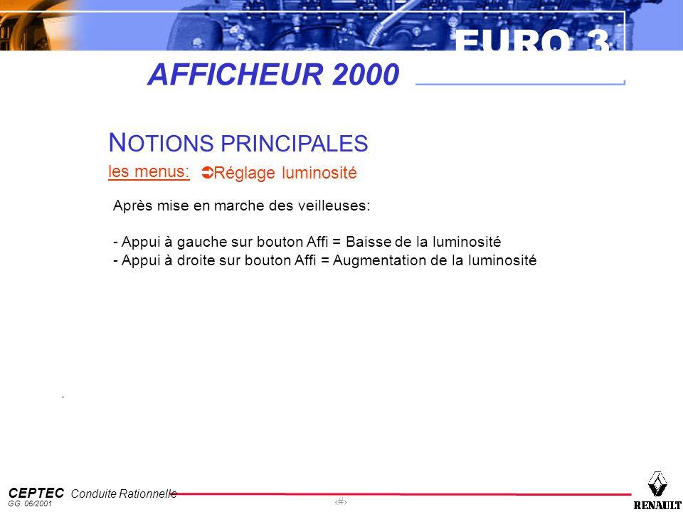 EURO 3 CEPTEC Conduite Rationnelle GG. 06/2001 56 AFFICHEUR 2000 N OTIONS PRINCIPALES les menus: Réglage luminosité Après mise en marche des veilleuse