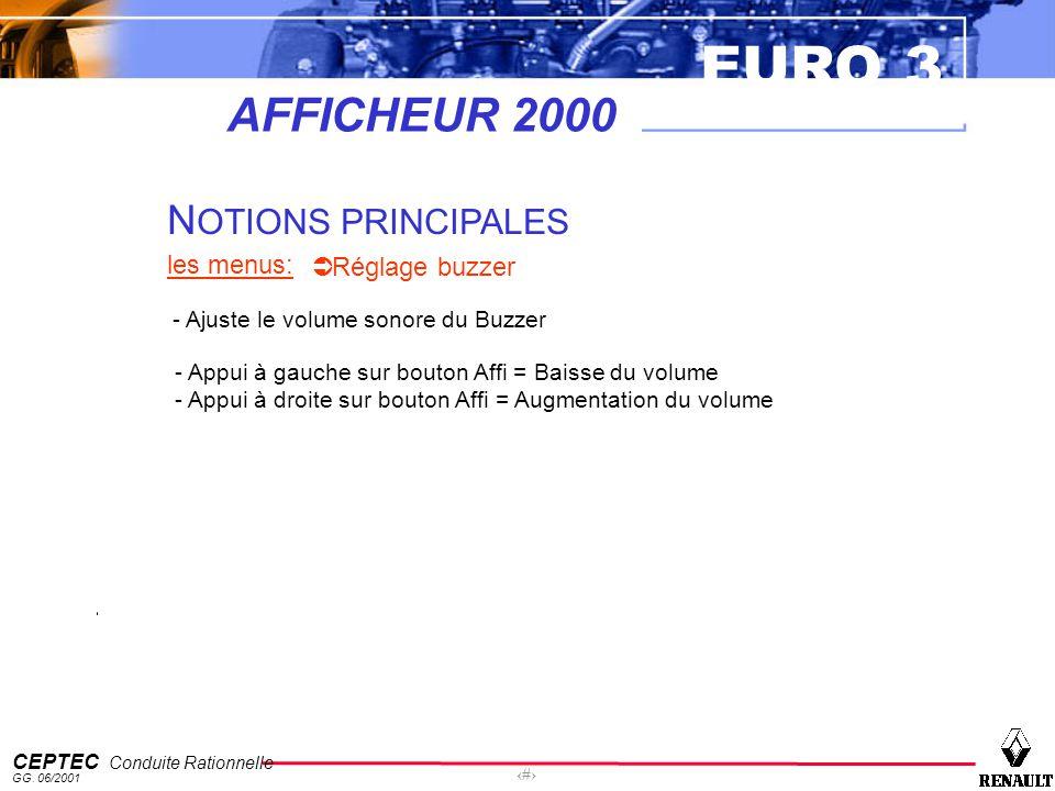EURO 3 CEPTEC Conduite Rationnelle GG. 06/2001 57 AFFICHEUR 2000 N OTIONS PRINCIPALES les menus: Réglage buzzer - Ajuste le volume sonore du Buzzer -
