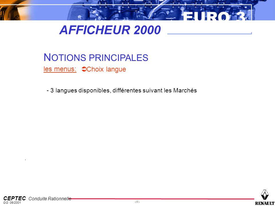 EURO 3 CEPTEC Conduite Rationnelle GG. 06/2001 58 AFFICHEUR 2000 N OTIONS PRINCIPALES les menus: Choix langue - 3 langues disponibles, différentes sui
