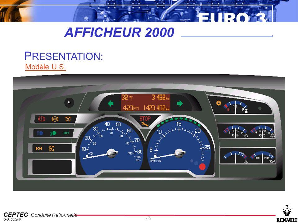 EURO 3 CEPTEC Conduite Rationnelle GG. 06/2001 6 AFFICHEUR 2000 P RESENTATION: Modèle U.S.: P RESENTATION: Modèle U.S.
