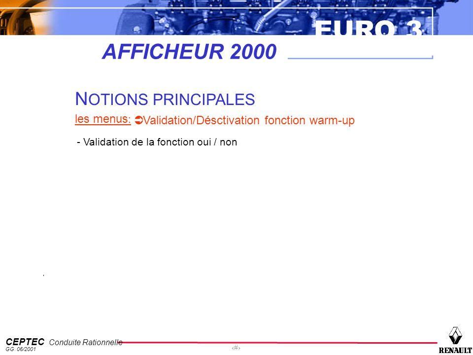 EURO 3 CEPTEC Conduite Rationnelle GG. 06/2001 60 AFFICHEUR 2000 N OTIONS PRINCIPALES les menus : Validation/Désctivation fonction warm-up - Validatio