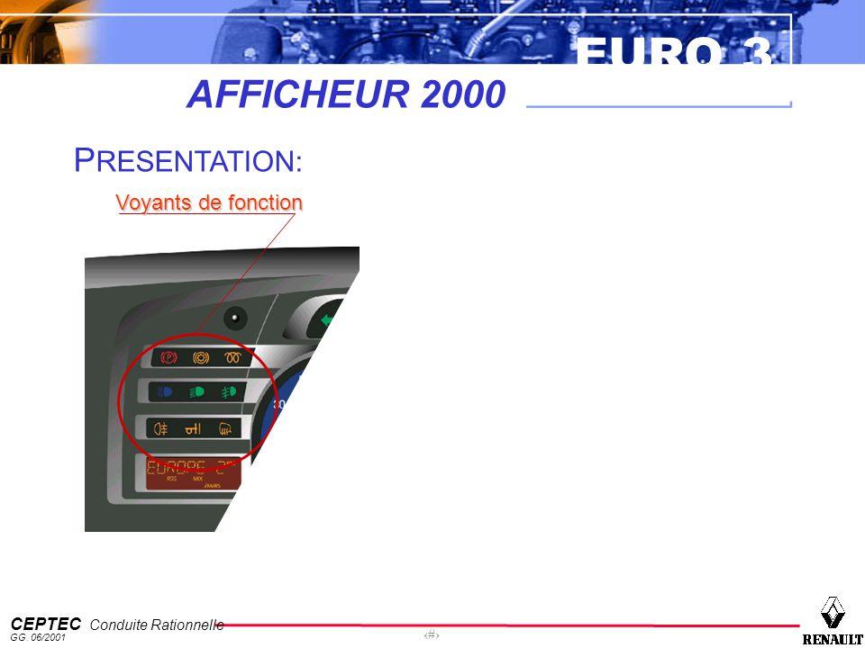 EURO 3 CEPTEC Conduite Rationnelle GG. 06/2001 10 AFFICHEUR 2000 P RESENTATION: Jauges détats