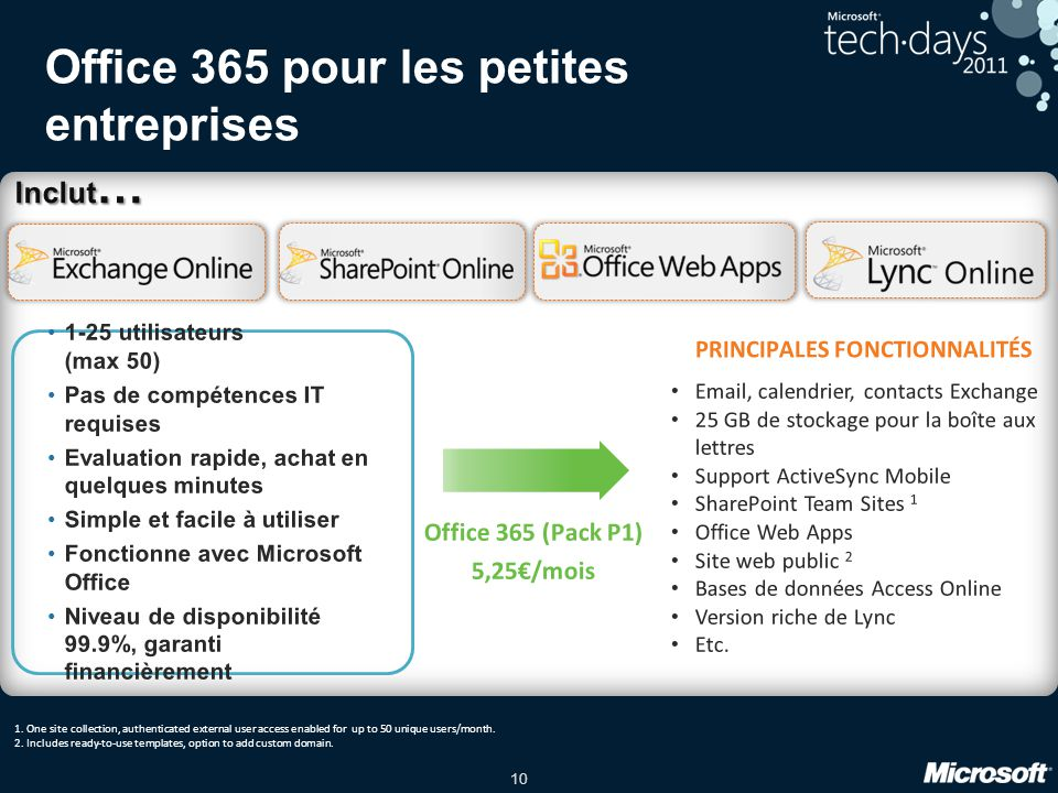 10 Office 365 pour les petites entreprises Inclut … Email, calendrier, contacts Exchange 25 GB de stockage pour la boîte aux lettres Support ActiveSyn
