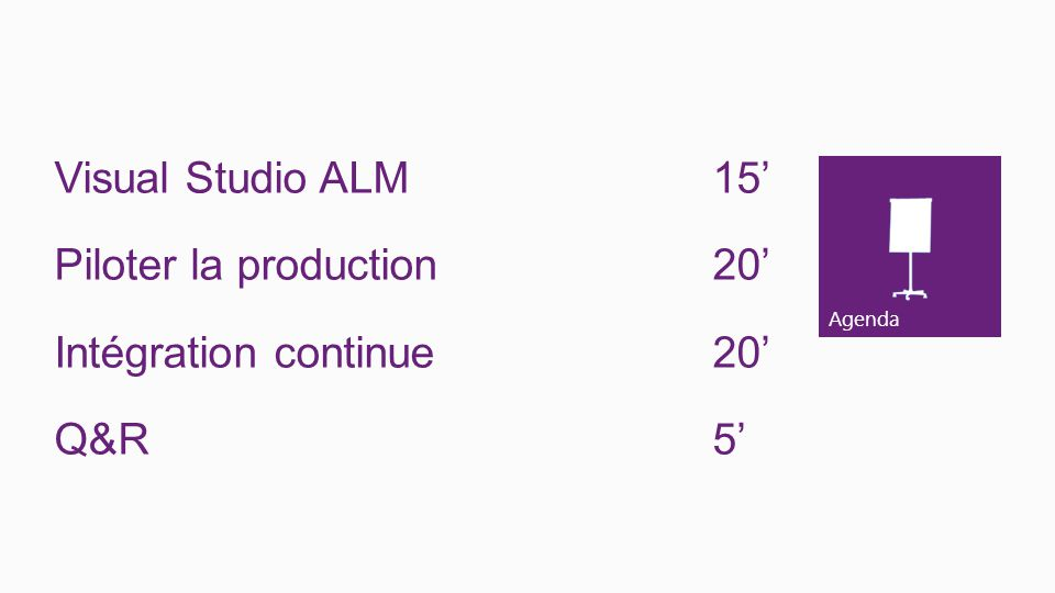Agenda Visual Studio ALM15 Piloter la production 20 Intégration continue 20 Q&R5