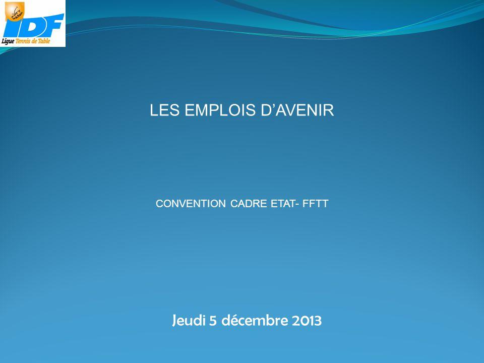 Jeudi 5 décembre 2013 LES EMPLOIS DAVENIR CONVENTION CADRE ETAT- FFTT