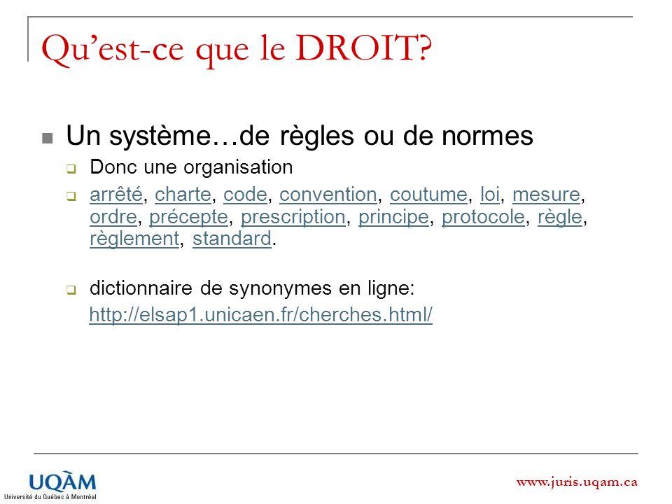 www.juris.uqam.ca Quest-ce que le DROIT? Un système…de règles ou de normes Donc une organisation arrêté, charte, code, convention, coutume, loi, mesur