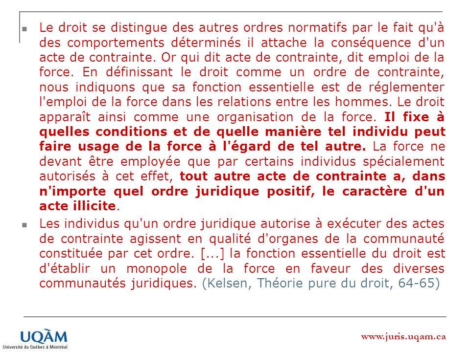 www.juris.uqam.ca Le droit se distingue des autres ordres normatifs par le fait qu'à des comportements déterminés il attache la conséquence d'un acte