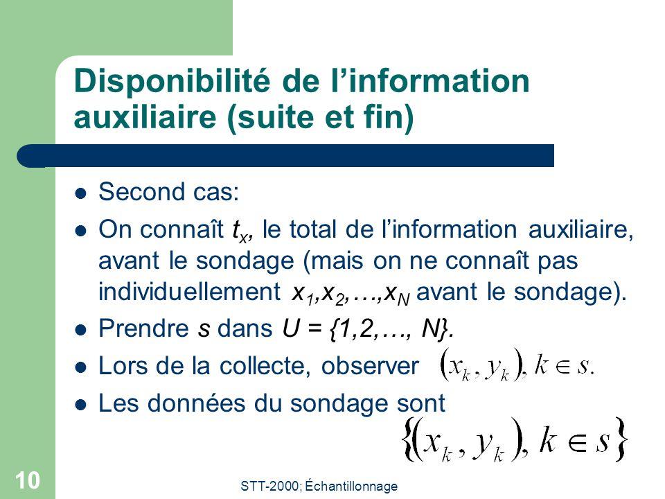 STT-2000; Échantillonnage 10 Disponibilité de linformation auxiliaire (suite et fin) Second cas: On connaît t x, le total de linformation auxiliaire, avant le sondage (mais on ne connaît pas individuellement x 1,x 2,…,x N avant le sondage).