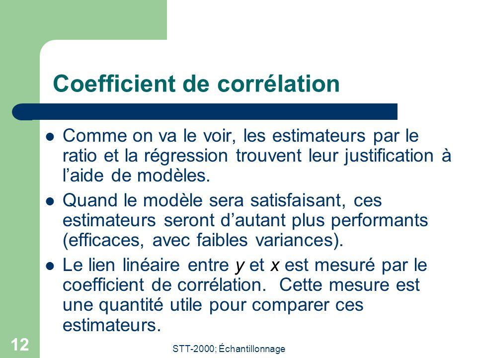 STT-2000; Échantillonnage 12 Coefficient de corrélation Comme on va le voir, les estimateurs par le ratio et la régression trouvent leur justification à laide de modèles.