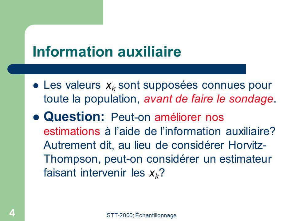 STT-2000; Échantillonnage 4 Information auxiliaire Les valeurs x k sont supposées connues pour toute la population, avant de faire le sondage.