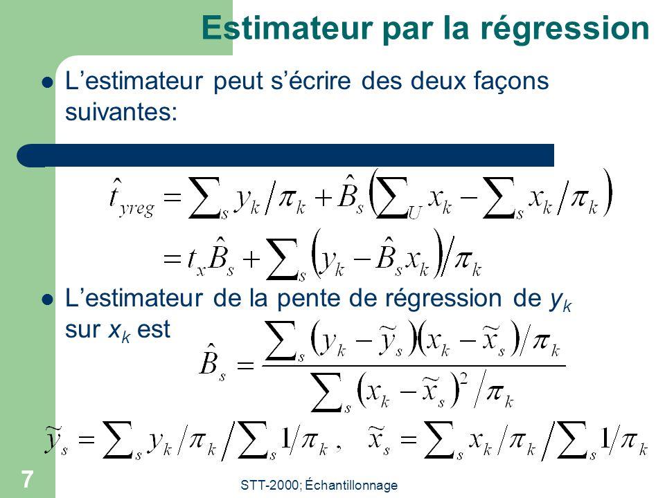 STT-2000; Échantillonnage 7 Estimateur par la régression Lestimateur peut sécrire des deux façons suivantes: Lestimateur de la pente de régression de y k sur x k est