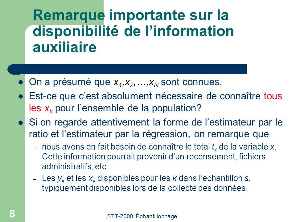 STT-2000; Échantillonnage 8 Remarque importante sur la disponibilité de linformation auxiliaire On a présumé que x 1,x 2,…,x N sont connues.