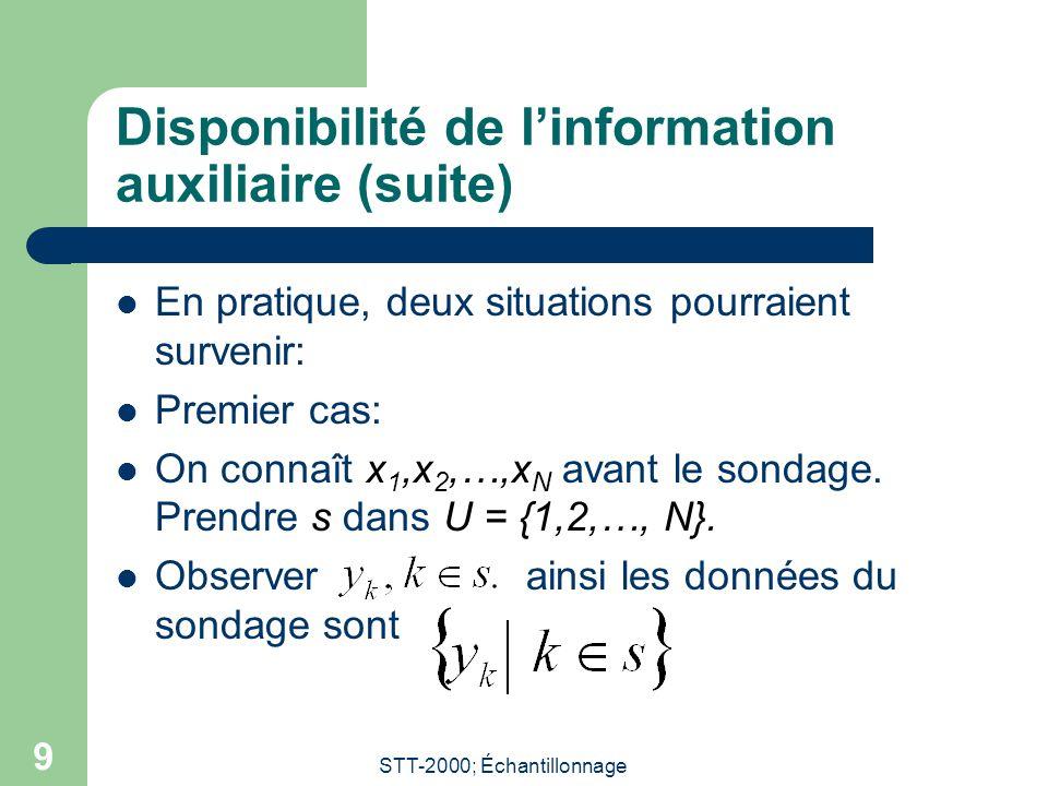 STT-2000; Échantillonnage 9 Disponibilité de linformation auxiliaire (suite) En pratique, deux situations pourraient survenir: Premier cas: On connaît x 1,x 2,…,x N avant le sondage.
